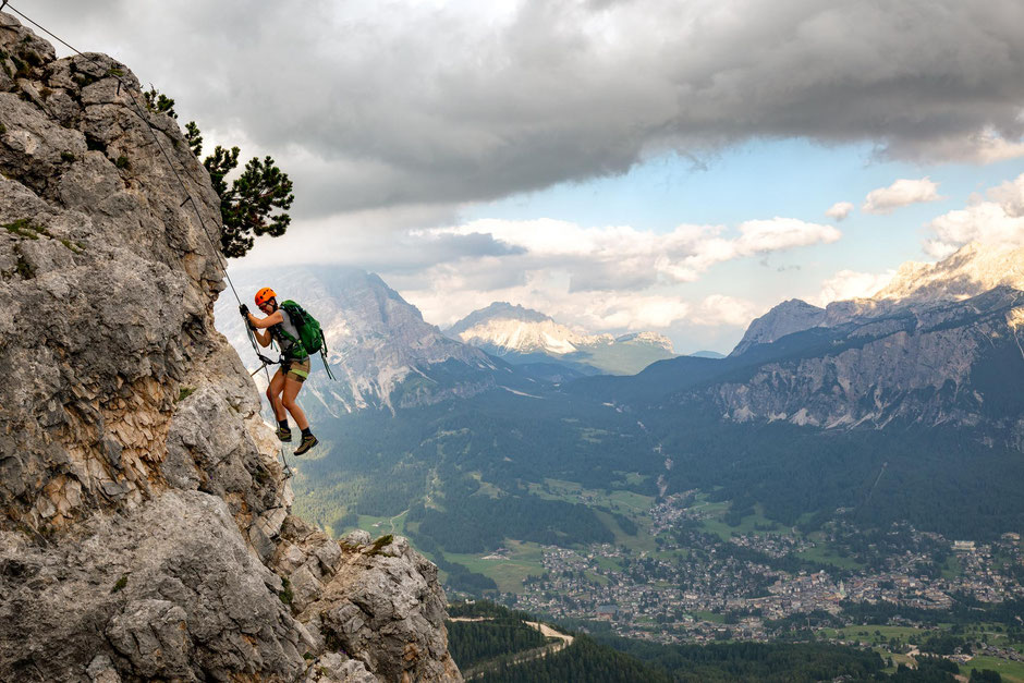 Climber approaching the summit along the via ferrata Ra Bujela near Cortina D'Ampezzo in the Italian Dolomites