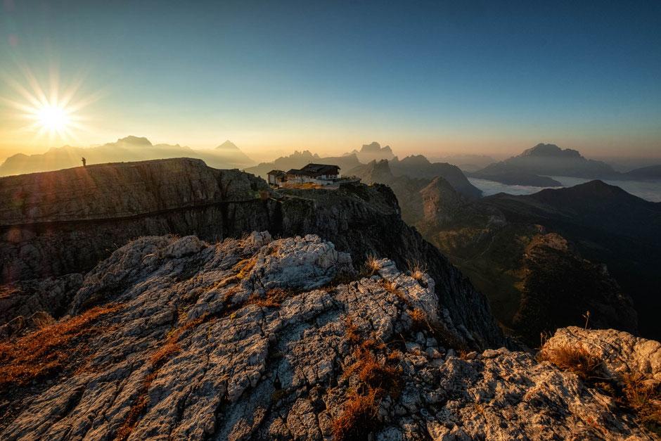 Rifugio Lagazuoi from Picollo Lagazuoi at sunrise. Guide to Alta Via 1