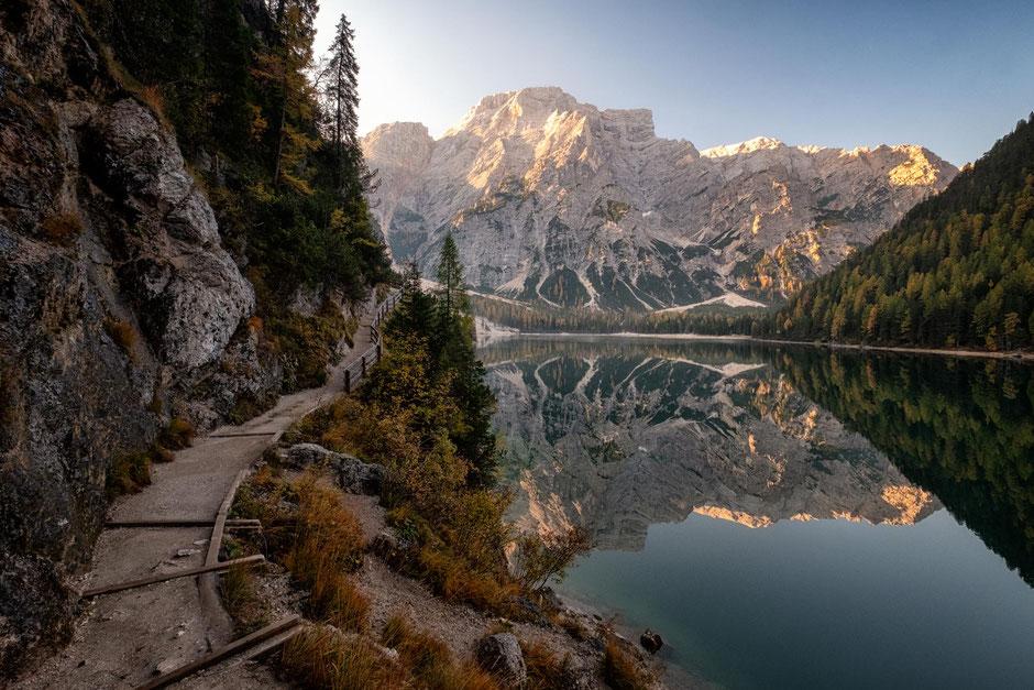 Seekofel reflecting in Lago di Braies - the beginning of Alta Via 1