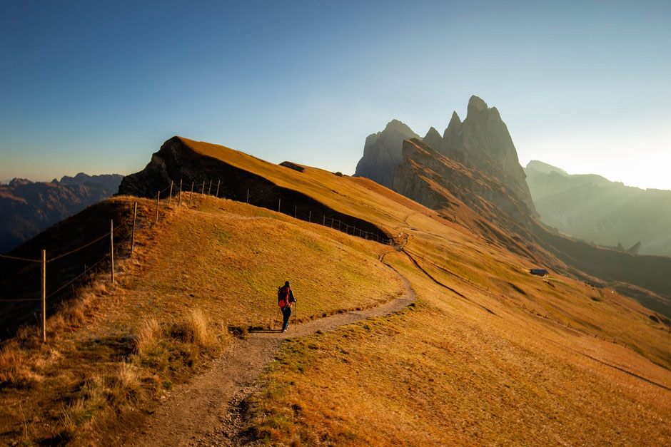 Hiking toward the Seceda ridgeline in the Italian Dolomites