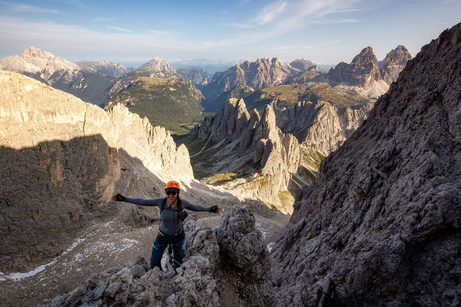 views along the via ferrata Merlone in Tre Cime National park