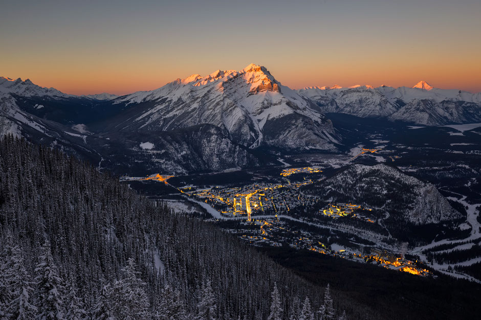 Sunset from the top of Sulphur Mountain in Banff