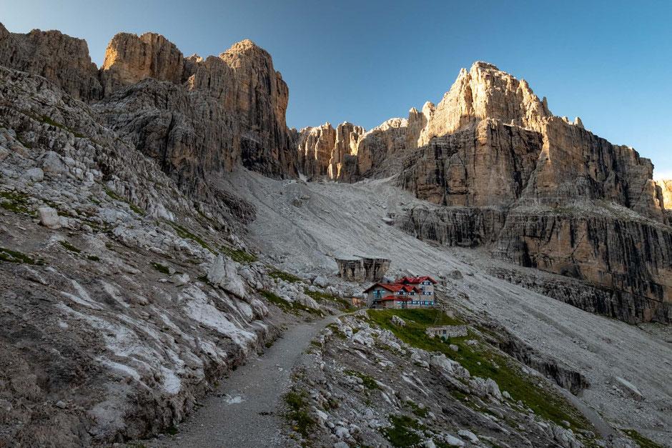Rifugio Roda Di Vael at sunrise. Top mountain huts in the Dolomites