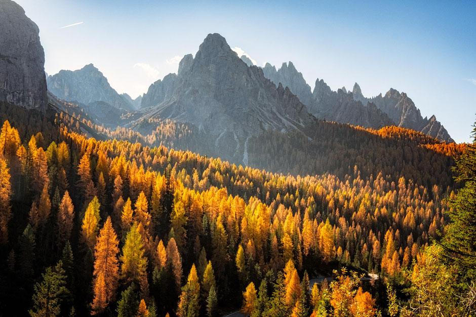 Cima cadin during autumn season in the Italian Dolomites
