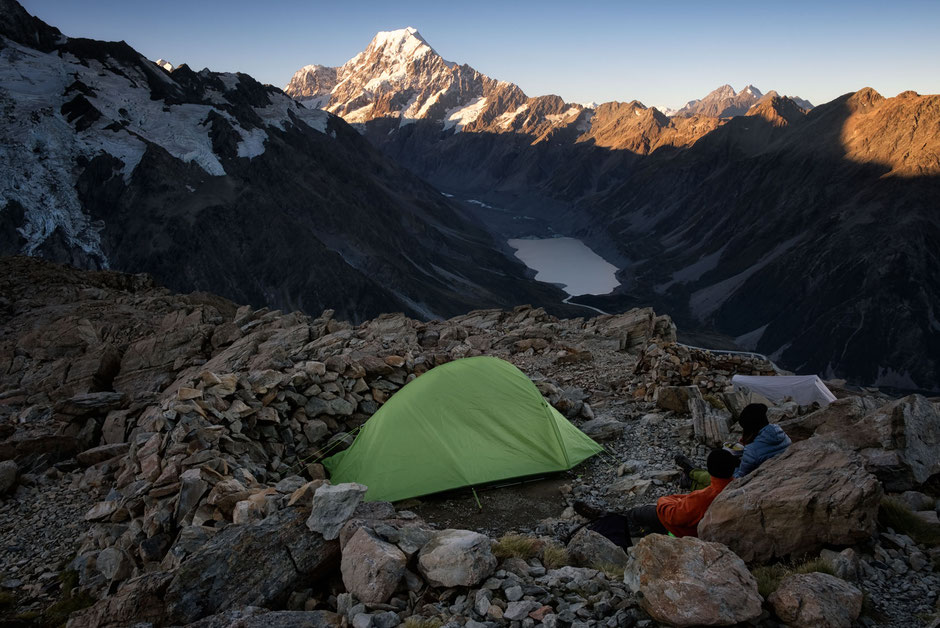 Campers near the Mueller hut in Mount Cook National Park, New Zealand