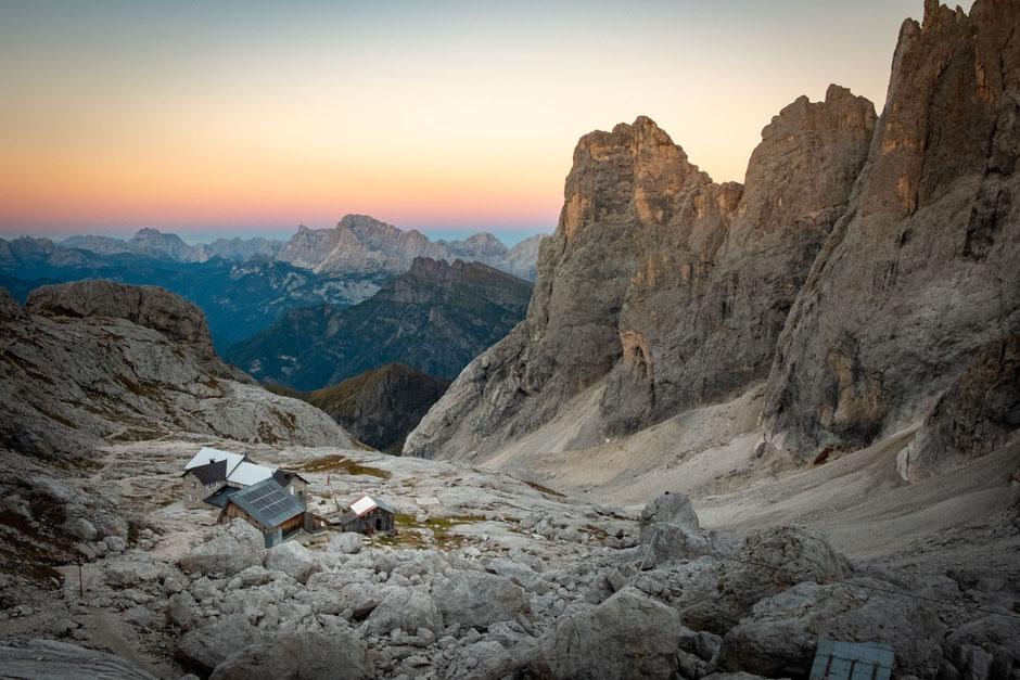 Sunset over Val Di Focobon and rifugio Mulaz