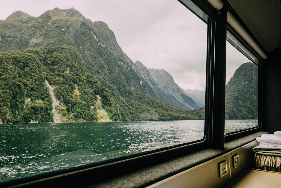 The view from the Fiordland Discovery vessel during the cruise around Milford Sound