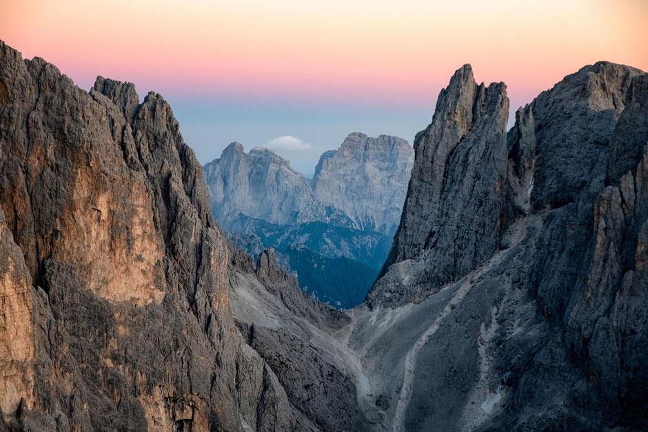 The view of Passo di Ball from Monte Rosetta in the Pale di San Martino Range in the Italian Dolomites