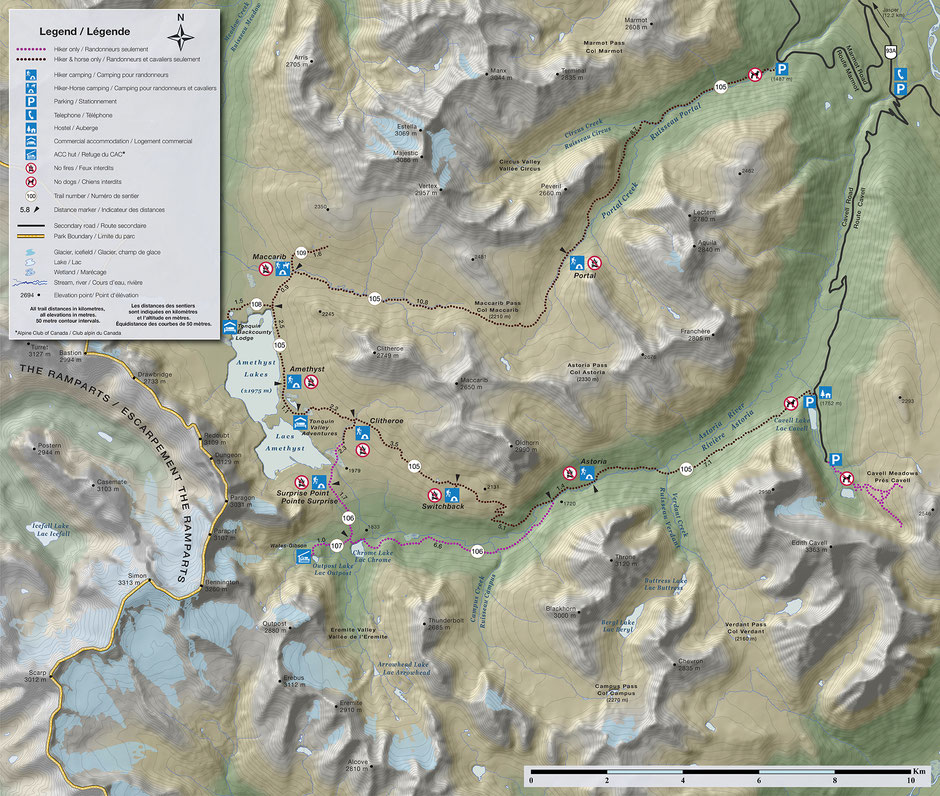 A map detailing the route along the Tonquin Valley Trail in Jasper National Park