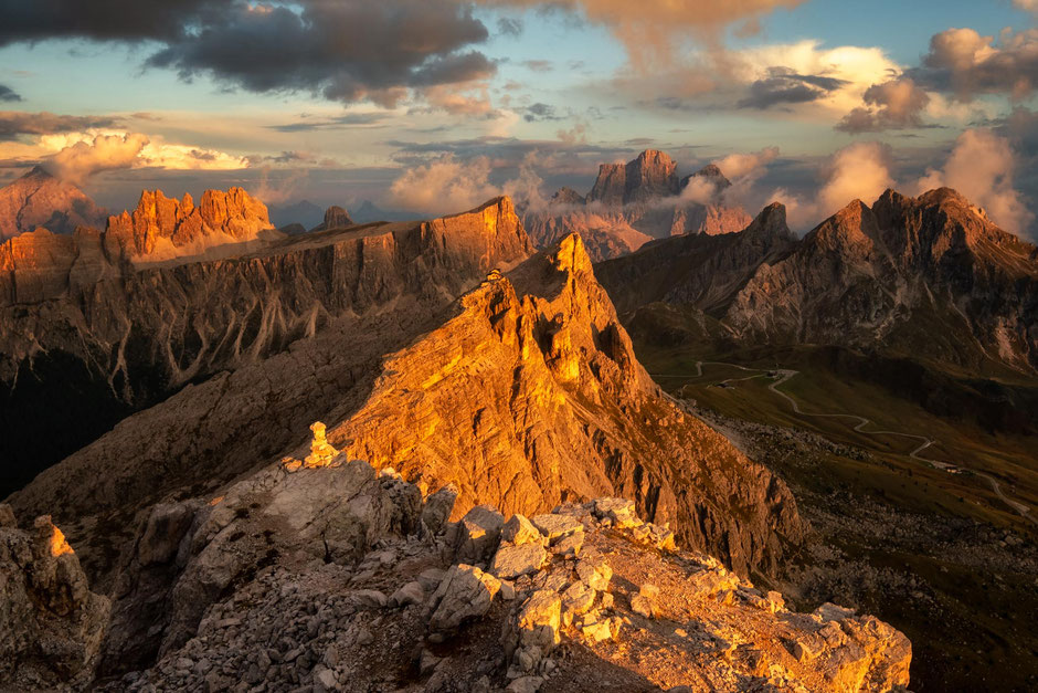 Panoramic view from the summit of Mount Averau in the Italian Dolomites. Via Ferrata Averau