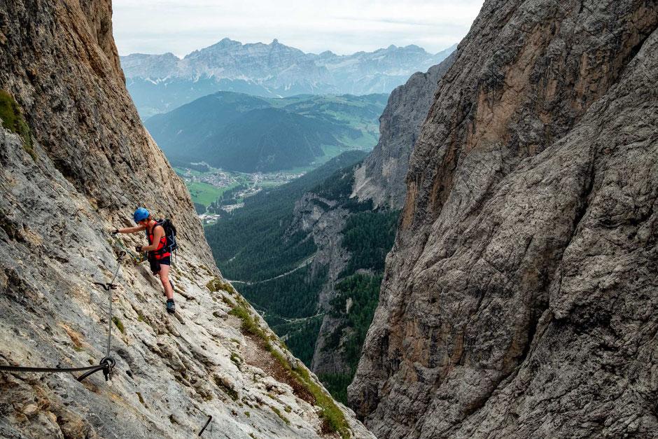 Climber ascending on the via ferrata Brigata Tridentina in the Italian Dolomites