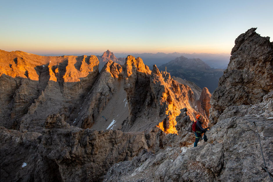 First light on the peaks of the Cristallo group along the via ferrata Marino Bianchi, one of the top ferratas near Cortina D'Ampezzo