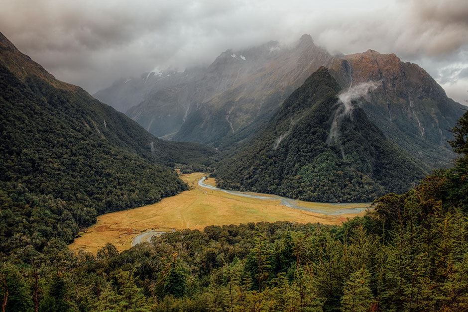 A tributary of the Routeburn River from a scenic viewpoint on the Routeburn Track in Mount Aspiring National Park