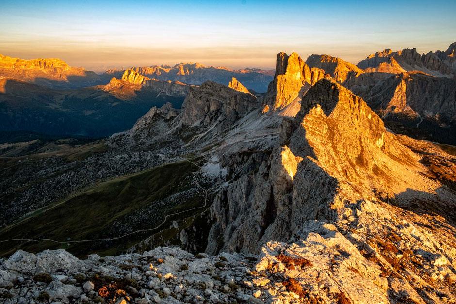 Sunsrise view from the Ra Gusela Summit - best beginner via ferratas in the Italian Dolomites