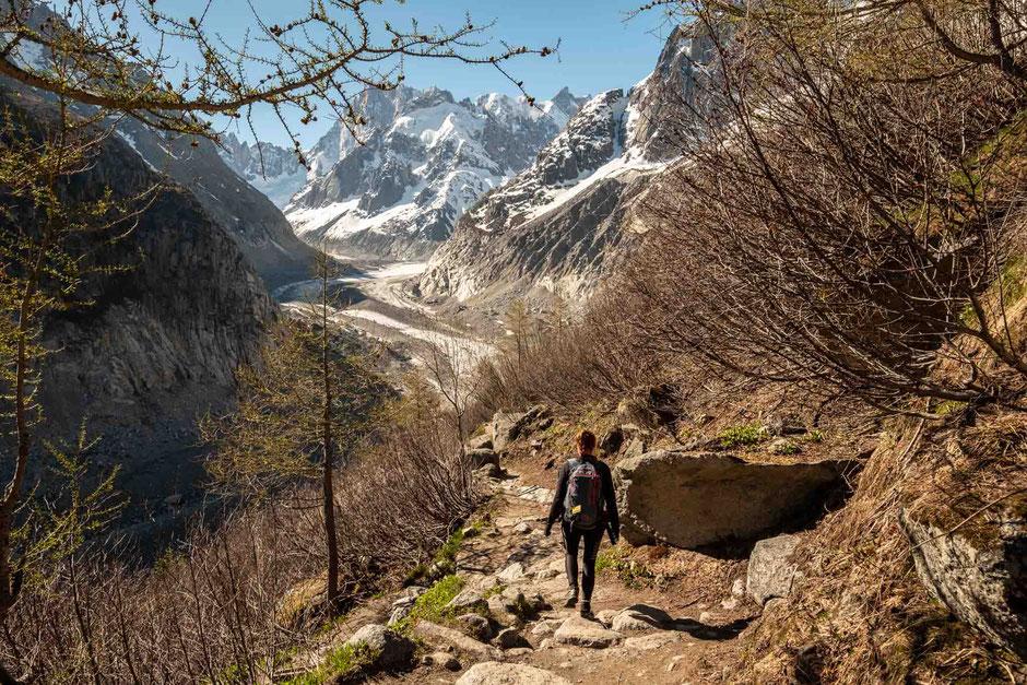 My friend Kate hiking to Mer de Glacier in Chamonix