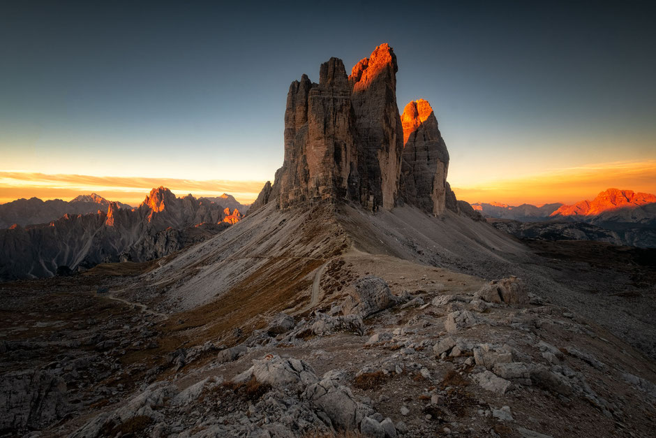 First light on the Three Peaks visible from the Focella Lavaredo