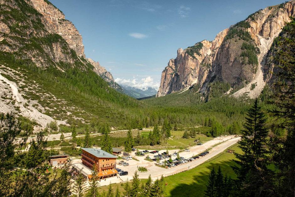 Rifugio Pederu in the Tamersc Valley around half way on the second day of Alta Via 1