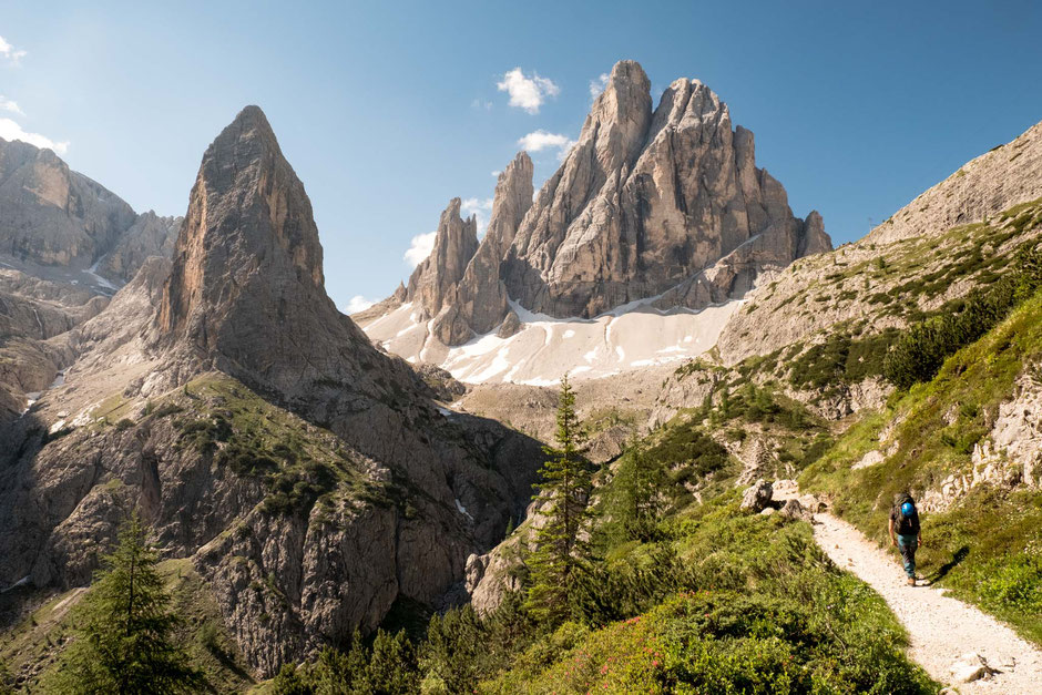 Gaining elevation in the Fiscalina Valley with the dramatic view of Croda Dei Toni