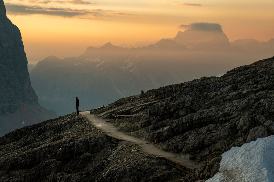 Sunrise on day 4 of Alta Via 1 near rifugio Lagazuoi. The Sorapiss group can be seen in the distance