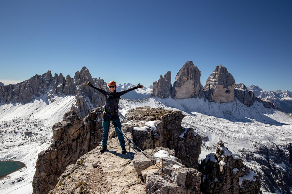 Torre di Toblin Summit. Via Ferrata delle Scatelle in Tre Cime National Park