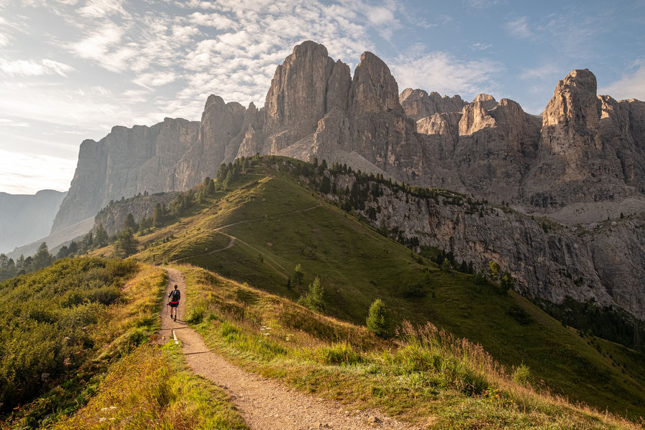 Crossing Passo Gardena and entering the Sella Group on Alta Via 2