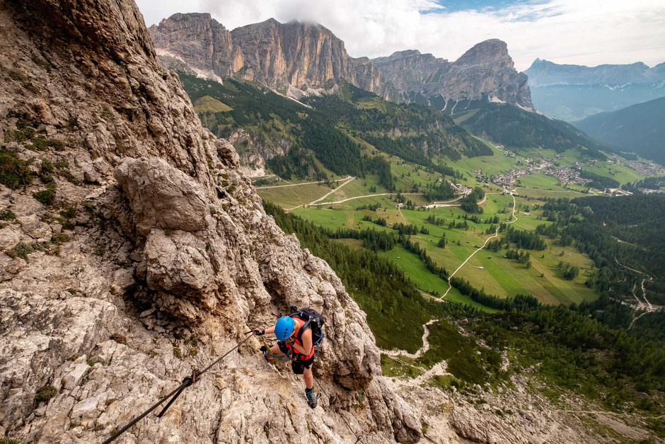A climber along the via ferrata Brigata Tridentina in the Italian Dolomites