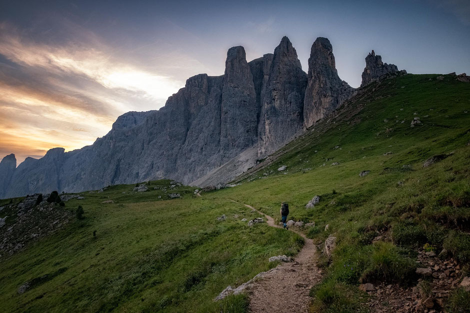 Approaching the Sella Towers - the start of the via ferrata Pössnecker