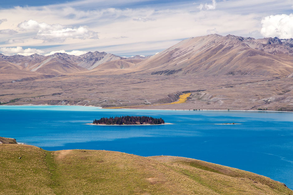 The blue colours of Lake Tekapo seen from Mt John observatory