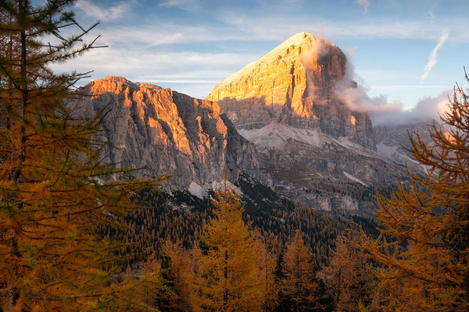 Passo Falzarego at sunset during autumn