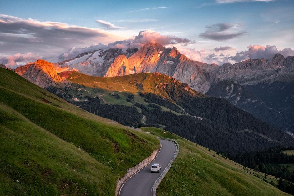 Sassolungo and Sassopiato at sunrise from Passo Sella in the Italian Dolomites