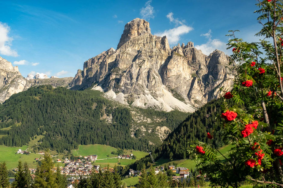 Corvara and Sassongher viewed from the Compologno Pass in the Italian Dolomites