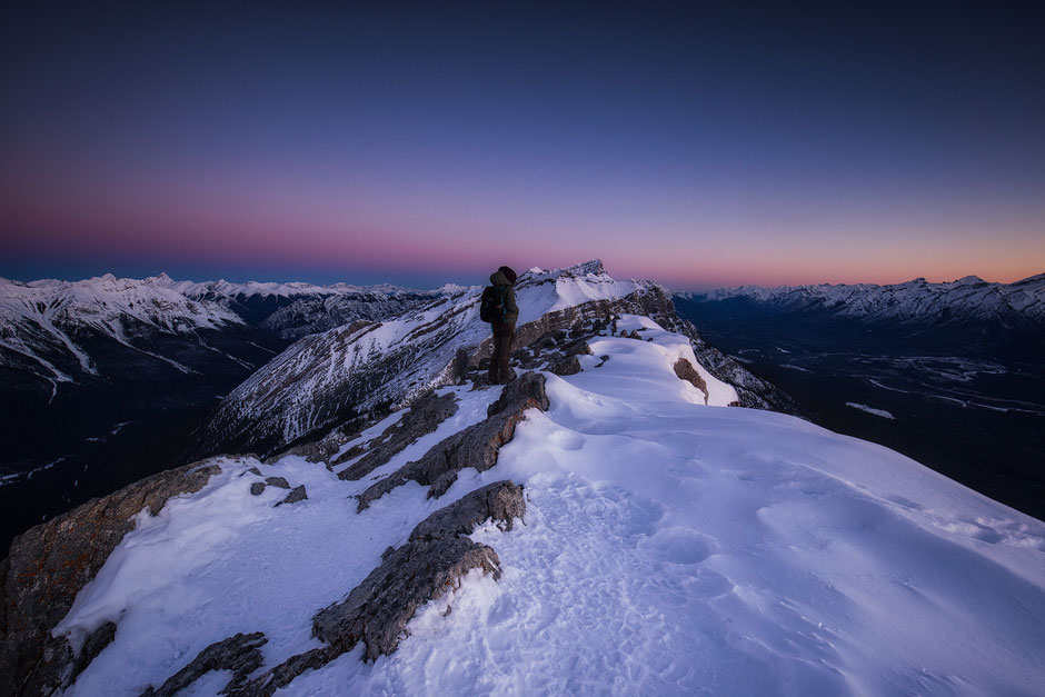 Sunrise from the top of Ha Ling Peak in Canmore