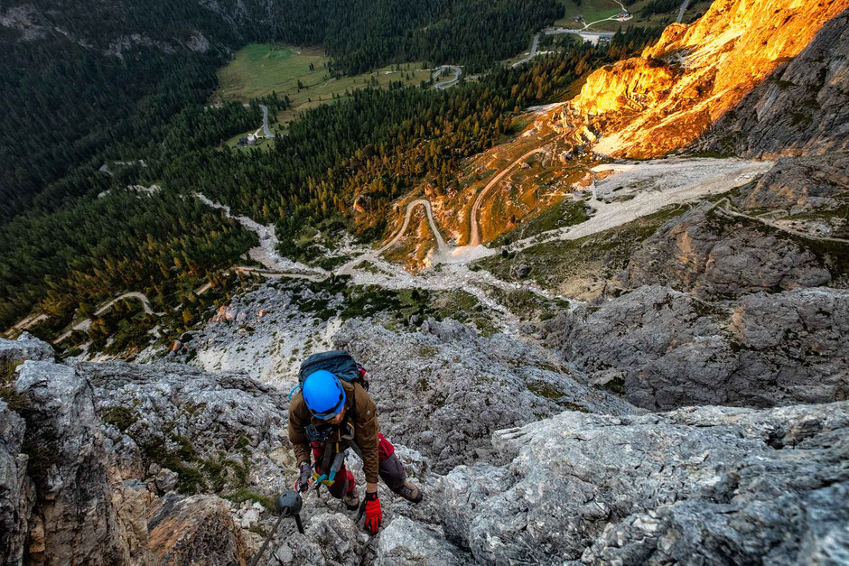 Scrambling on the via ferrata Degli Alpini Al Col Dei Bos