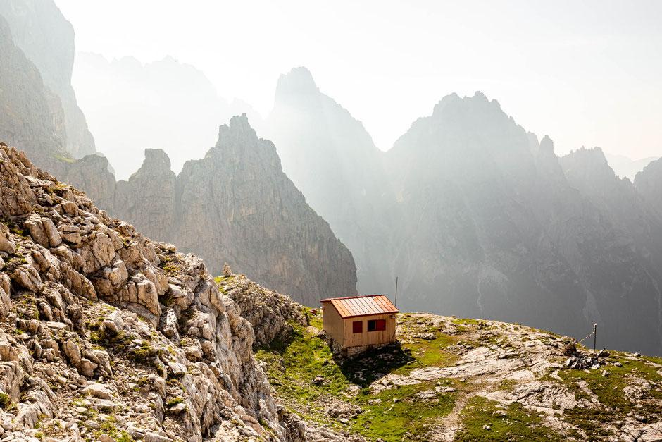 Bivacco Carlo Minazio in the Pale di San Martino Range in the Italian Dolomites
