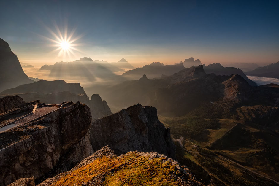 The view from Mount Lagazuoi in the Italian Dolomites