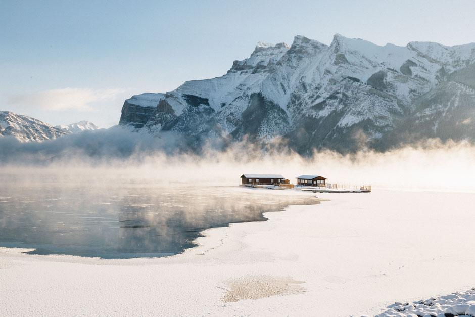 Lake Minnewanka on a cold winter morning