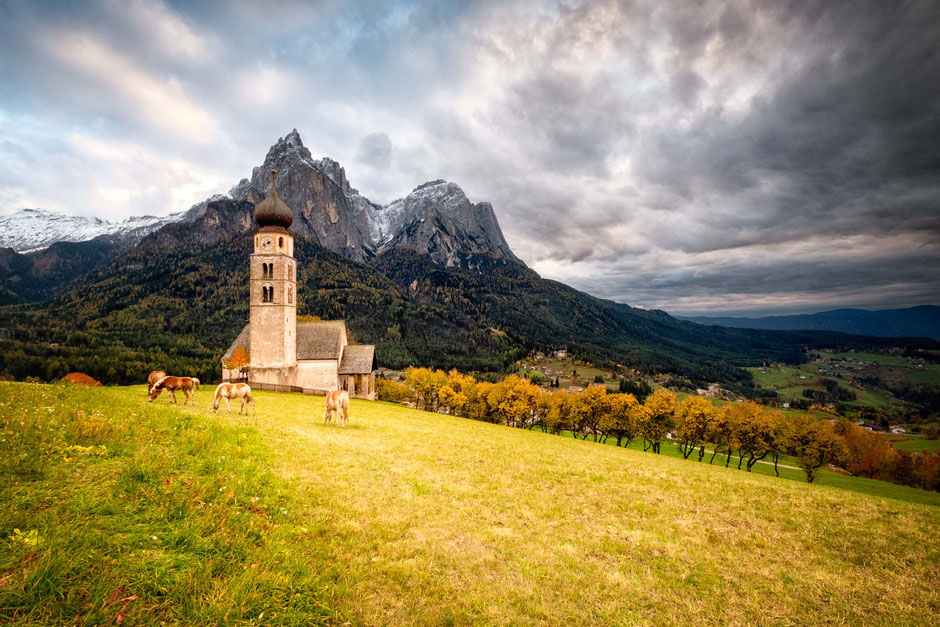 San Valentino Church in Siusi/Seiser Alm in the Italian Dolomites