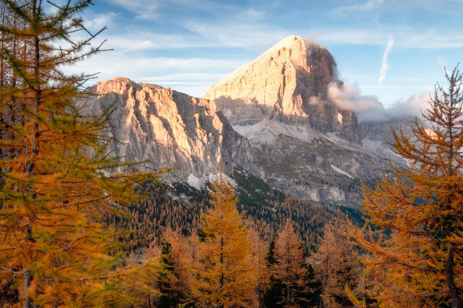 Tofana di Rozes in the late afternoon sun during the autumn season in the Italian Dolomites