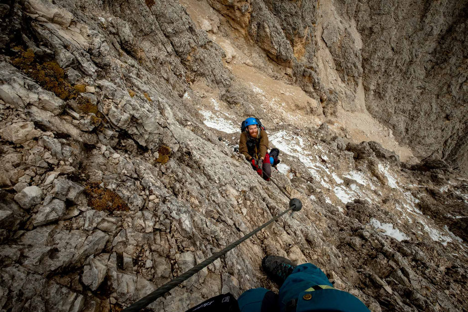 What to expect along the via ferrata Oskar Schuster in the Italian Dolomites
