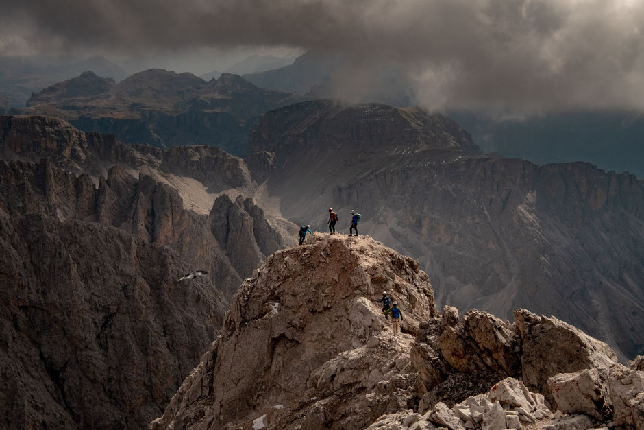 Hikers along the via ferrata Sass Rigais in the Italian Dolomites