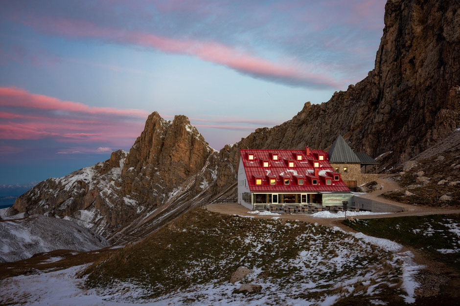 Rifugio Alpi di Tires. The last hut on the multiday traverse through the Rosengarten Nature park in the Dolomites.