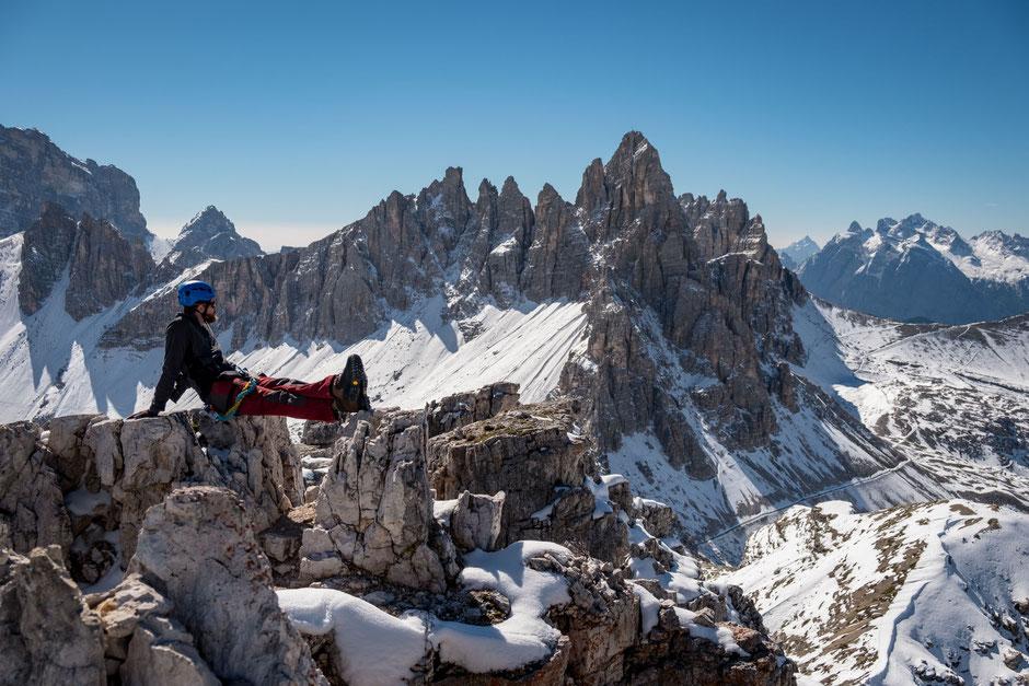 The view of Monte Paterno, where via ferrata De Luca runs, from the summit of Torre di Toblin