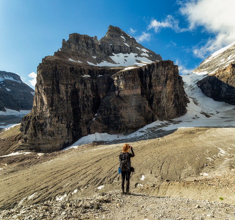 Plain of the six glaciers. Best hikes around Lake Louise in Banff NP