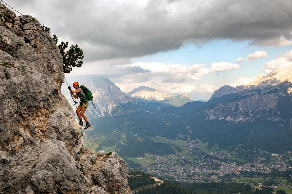 A climber on the via ferrata Ra Bujela in Cortina D'Ampezzo in the Dolomites