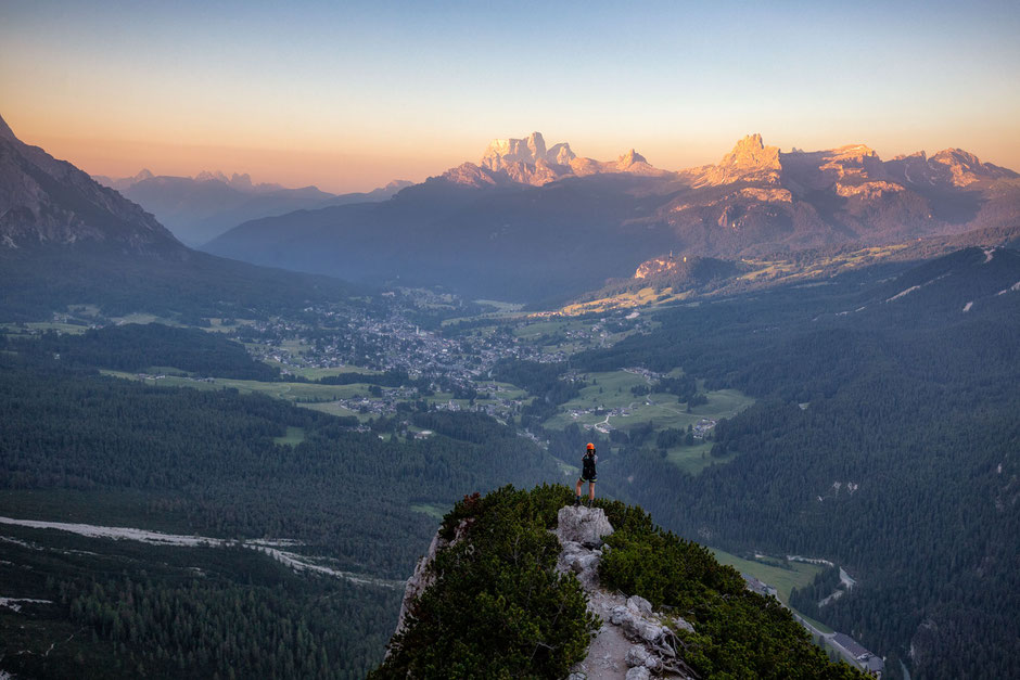An aerial view of Cortina D'Ampezzo and Mount Pelmo taken from the via ferrata Michieli Strobel