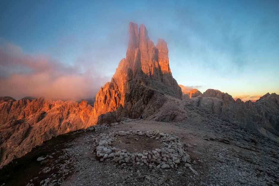 Vajolet Towers - the highlight of the multiday backpacking route through the Rosengarten group in the Italian Dolomites