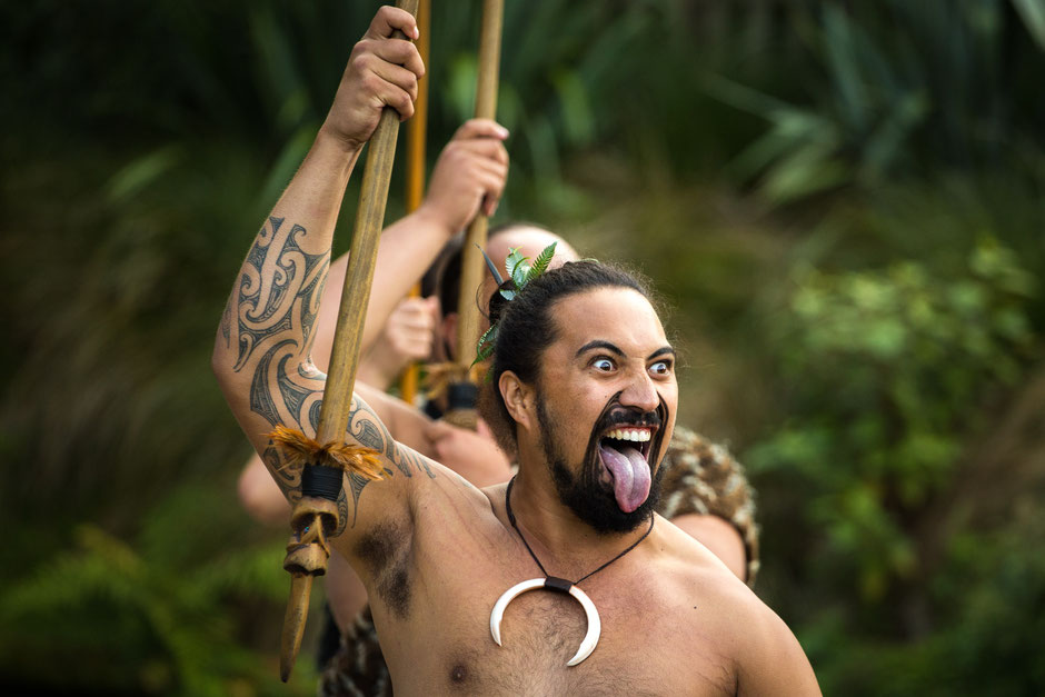 Maori Warrior Performing the Haka