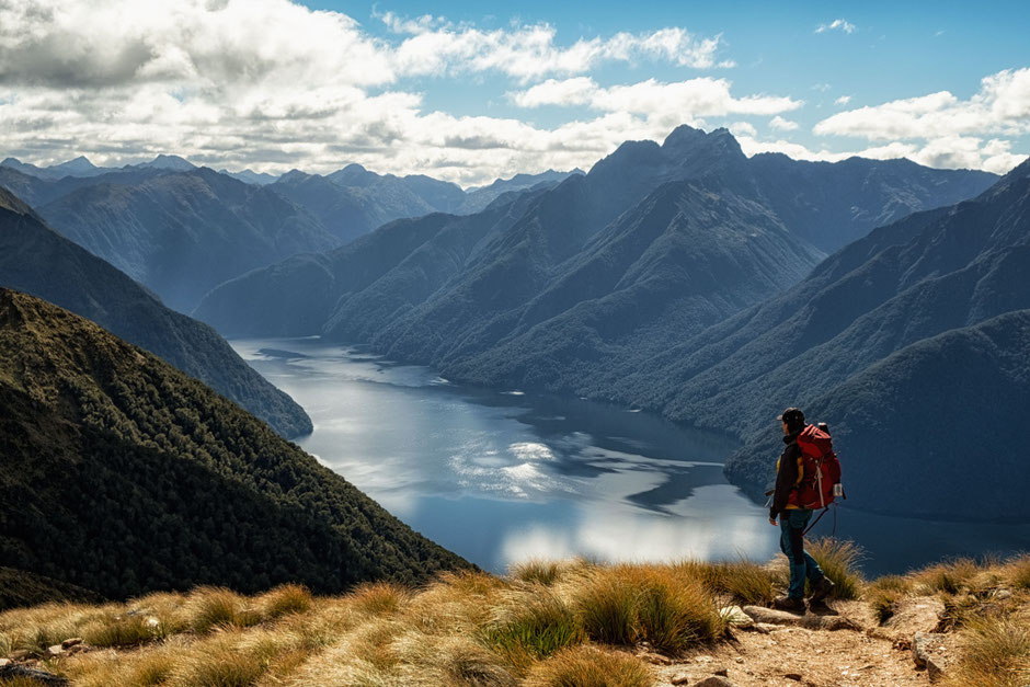 A view over Lake Te Anau whilst completing the Kepler Track in Fiordland National Park