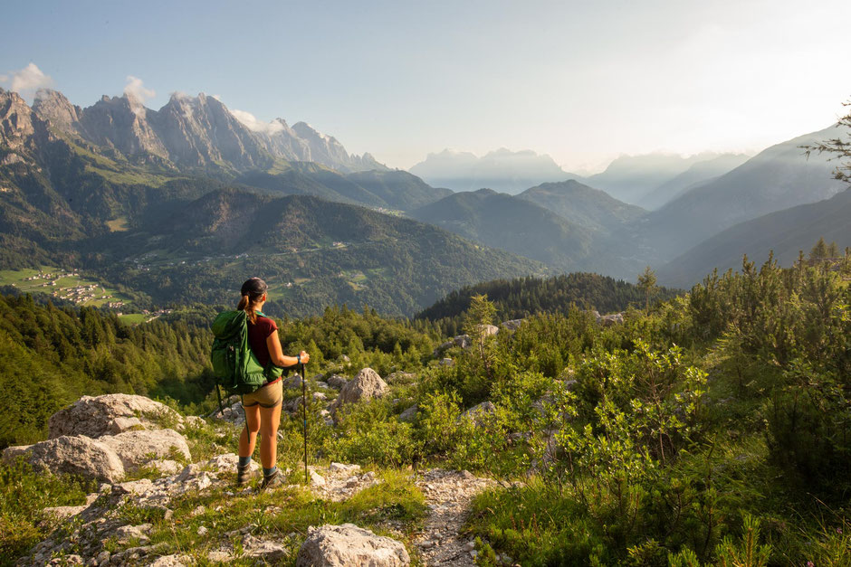 A hiker on the approach to Passo Comedon on one of the final stages the 12th day of Alta Via 2 in the Italian Dolomites