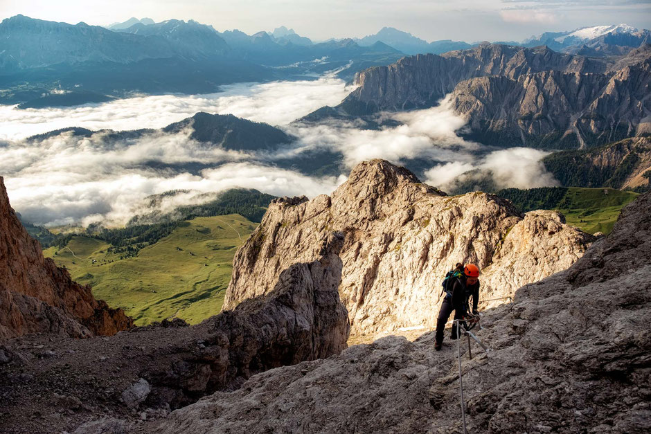 Approaching the summit of Sass de Putia in the Italian Dolomites
